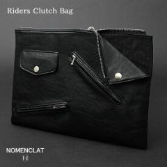 クラッチバッグ セカンドバッグ メンズ ライダース PUレザー バイカー 合成皮革 カバン 鞄 黒 ブラック ストリート パーティー