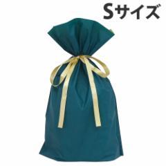 カクケイ 梨地リボン付巾着袋 マチ付 S ダークグリーン 20枚 FK2428