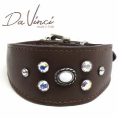 SALE/返品交換不可・Da Vinci カラー Vittoria:茶 DV1.7.30BR 小型犬用首輪・首周り実寸:約21〜25cm イタリア製 dv91324