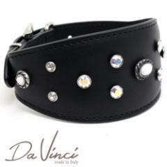 SALE/返品交換不可・Da Vinci カラー Vittoria:黒 DV1.7.40B 中型犬用首輪・首周り実寸:約25〜33cm イタリア製 dv91386