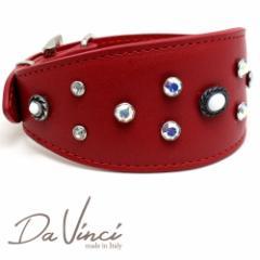 SALE/返品交換不可・Da Vinci カラー Vittoria:赤 DV1.7.40R 中型犬用首輪・首周り実寸:約25〜33cm イタリア製  dv91416
