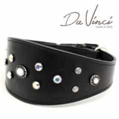 SALE/返品交換不可・Da Vinci カラー Vittoria:黒 DV1.7.45B 中型犬用首輪・首周り実寸:約30〜39cm イタリア製 dv91430