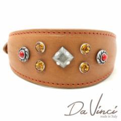 SALE/Da Vinci カラー Maddalena:ナチュラル DV17.3.30N 小型犬用首輪・首周り実寸:約21〜25cm イタリア製 ダ・ヴィンチ dv97043