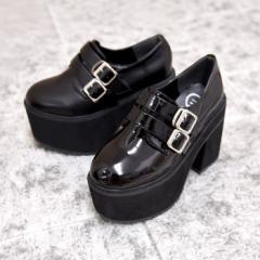 ダブルベルト厚底シューズ 靴 シューズ レディース 厚底 マニッシュ ストラップ ベルト タンクヒール 黒 履きやすい 個性的 ダブルベルト