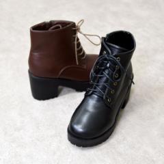 レディース シューズ ブーツ ショートブーツ 厚底 カジュアル レースアップ おしゃれ 可愛い 黒 ブラック 合皮 NOFALL SANGO