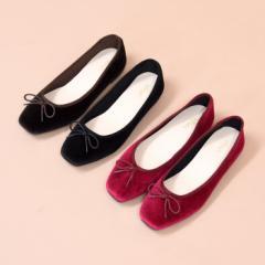 【送料無料】靴 レディース パンプス バレエ フラット ぺたんこ 可愛い 黒 ブラック ベージュ ゴールド シルバー スクエアトゥ NOFALL