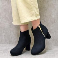 レディース シューズ ブーツ ショートブーツ ブラック スエード 合皮 シンプル 可愛い アーモンドトゥ サイドジップ 履きやすい 黒 ブラ