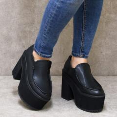 厚底ローファー 靴 レディース シューズ 厚底 ローファー 太ヒール ハイヒール マニッシュ おしゃれ かわいい 盛れる 黒 ブラック 美脚