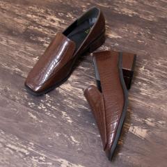 【送料無料】靴 レディース パンプス ローファー マニッシュ クロコ おしゃれ かわいい 黒 ブラック ブラウン スクエアトゥ 大人 NOFALL