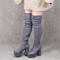 靴 レディース ブーツ ニーハイブーツ 厚底 ロングブーツ トレンド 黒 歩きやすい スエード 太ヒール 人気 ブラック ベージュ ブラウン
