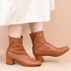 靴 シューズ レディース 厚底 ショートブーツ 可愛い ブーツ ストレッチ チャンキーヒール 歩きやすい スクエアトゥ ブラック ブラウン