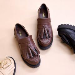 靴 レディース シューズ 厚底 ローファー タッセル マニッシュ おしゃれ かわいい 盛れる ライブ コスプレ 黒 ブラック 美脚