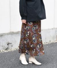 レディース トレンド 個性 大人カジュアル 柄スカート グリーン ブラウン プチプラ 高見え ショート丈 かわいい おしゃれ 洋服