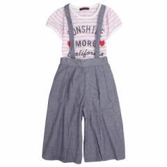 f4b17c8f7ecd43 半袖 ガウチョパンツ 子供 キッズ 女の子 Dolly Ribbon(ドーリーリボン) Tシャツとサロペット