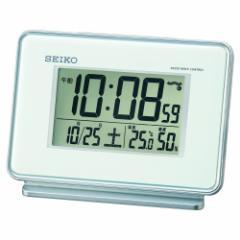 セイコー クロック 目覚まし時計 電波 デジタル 2チャンネル アラーム カレンダー 温度 湿度 表示 白 SQ767W SEIKO