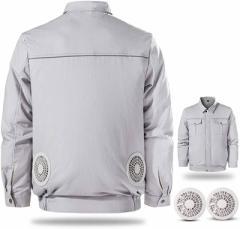 空調服 空調風神服 作業ジャケット ファンセット付き 作業着 2021最新型 熱中症対策 長袖 綿100 吸汗 薄手 3段階調節 USB式 水洗いでき