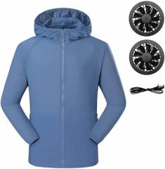 2021最新空調服 空調風神服 扇風服 薄手 軽量 冷感 長袖 ファン作業服 低騒音 大風量 暑さの対策 UVカット 防水 速乾 通気 強冷却ファン2