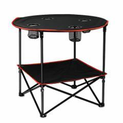 「2021最新」 折り畳みテーブル アウトドアテーブル 丸いデスク2.5kgと軽量 耐荷重45 kg 二層の設計 組立工具不要 展開サイズ約72**60cm