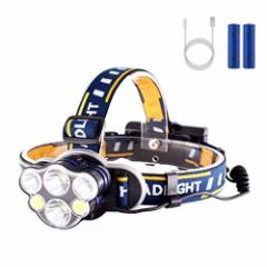 LED ヘッドライト 8点灯モード 高輝度 12000ルーメン SOSフラッシュ機能 IPX4防水 角度調節可能  お釣り  作業灯 PSE 18650電池付属