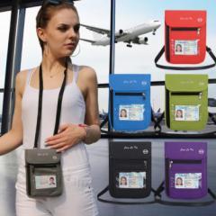パスポートケース RFID 盗難防止  首下げ スキミング防止 6色 カラフル 防水 5つのポケットが便利