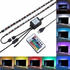 LEDテープライト テレビ照明 高輝度 チューブライト 間接照明 防水防滴タイプ クリアジェル 切断可能 USB接続 強粘着両面テープ仕様