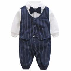 ベビー キッズ フォーマル スーツ 長袖 シャツ ジャケット  ストライプ 子供服 赤ちゃん 男の子 洋服 紳士服 綿 結婚式 入園式 出産祝い