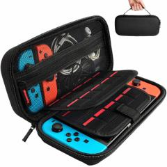 HY-00142Nintendo Switch専用の保護ケース, 任天堂スイッチ用のキャリングケース,耐衝撃,20個カート/ケーブル/イヤホンなど小物収納可(ブ