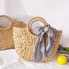 かごバッグサークルハンドル カゴバッグ ミディアムサイズ ハンドメイド ショルダーバッグ レディース 草編みバッグ  鞄 かごバッグ  か