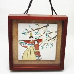 【日用品/雑貨 ひな祭り】 壁飾り 陶板画(陶板絵) 雛 北風一三作