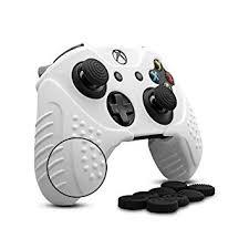 XboxOne コントローラー カバー シリコン スキン ケカバー1枚+スティックキャップ8個 耐衝撃保護  (白) MYR