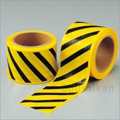 区画テープ『斜縞』80mm×50m巻No:374-58 立入禁止テープ ユニット 避難誘導