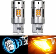 ウインカー LED バルブ T20 シングル/ピンチ部違い 共用品 アンバー 短型 冷却ファン付きキャンセラー内蔵 ヘッドライト級 CSP1919チップ