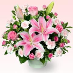 【開店祝い・開業祝い】花キューピットのピンクユリのコンポート