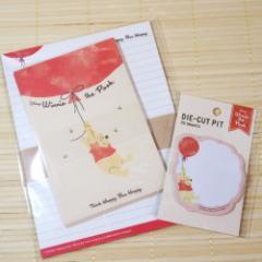 くまのプーさん レターセット&ふせんメモ(風船)のセット 21701-10/お手紙セット DISNEY 大人カワイイ文具 メッセージ DIE-CUT PIT