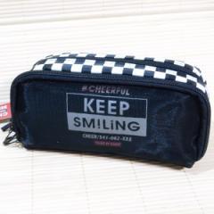 デコれる メッシュツインペンケース(KEEP SMILING/ブラック)23597/筆箱 ポーチ トレンド柄 多収納