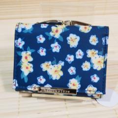ビブラ・ビブレ ミニ財布(アプリル/ネイビー)29744 花柄 三つ折り お札入れ 小銭入れ コンパクト