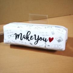MAKE YOU BOXペンケース(ホワイト/メタリックシルバー)37559/コンパクトな筆箱 刺しゅう