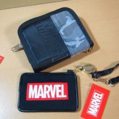 マーベル(MARVEL) 迷彩柄×黒 チェーン付き二つ折り財布&リール式パスケース 47529-78/クールな財布 ウォレット 定期券入れ