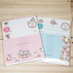 ようこそかわうそ レターセット2種類セット(ピンク/ブルー)57426-7/ お手紙セット 便せん 封筒 キャラクター
