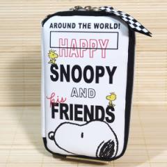 SNOOPY(スヌーピー/ロゴ) フラットマルチペンケース 63918/スマホも入るポーチ ポケット多め トラベルポーチ