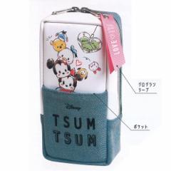 ディズニー ツムツムキャラ ミニショル ペンケース 86296/タテ型 筆箱 デニム 外ポケットあり