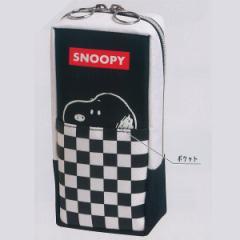 SNOOPY ミニショル ペンケース 86297/タテ型 筆箱 デニム 外ポケットあり チェッカーフラッグ