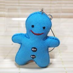 ハッピードール 携帯ストラップ フェルト素材のマスコット/ks20201 (happy doll/ブルー)約6センチ