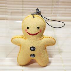 ハッピードール 携帯ストラップ フェルト素材のマスコット/ks20202 (happy doll/イエロー)約6センチ