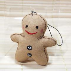 ハッピードール 携帯ストラップ フェルト素材のマスコット/ks20203 (happy doll/ベージュ)約6センチ