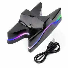 2 PS4 7色 LED充電器 Playstation4 ワイヤレス コントローラーLED充電スタンド miniUSB 2台同時充電対応