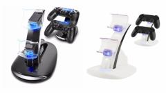 2 PS4 LED充電器 Playstation4 ワイヤレス コントローラーLED充電スタンド miniUSB 2台同時充電対応 ホワイト ブルー