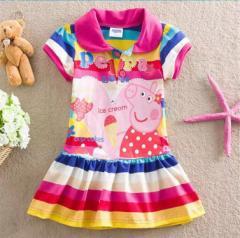 3a40b212a12e3 ワンピース ペッパピッグ 半袖 膝丈 子供用 スカート 可愛い かわいい 女の子 キッズ 送料無料 お出かけ 通学