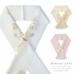 日本製 洗える 上品 可愛い うさぎ おもちゃ 刺繍 半衿 ちりめん ホワイト アイボリー