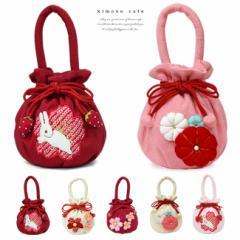 七五三 バッグ ふっくら飾り うさぎ 花 巾着袋 ピンク 赤 白 女児 753 三歳 五歳 七歳